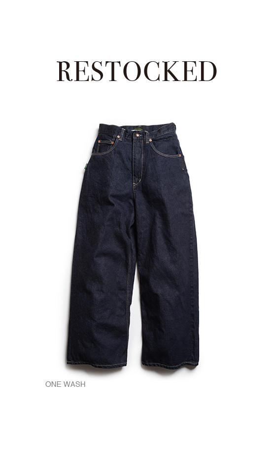 WIDE DENIM PANTS/ H/C 12oz DENIM/ONE WASH