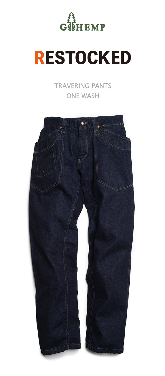 [再入荷] TRAVERING PANTS/12oz H/C DENIM (ONE WASH)