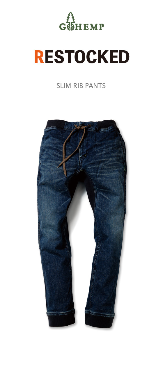 SLIM RIB PANTS/10oz H/C STRETCH DENIM USED WASH