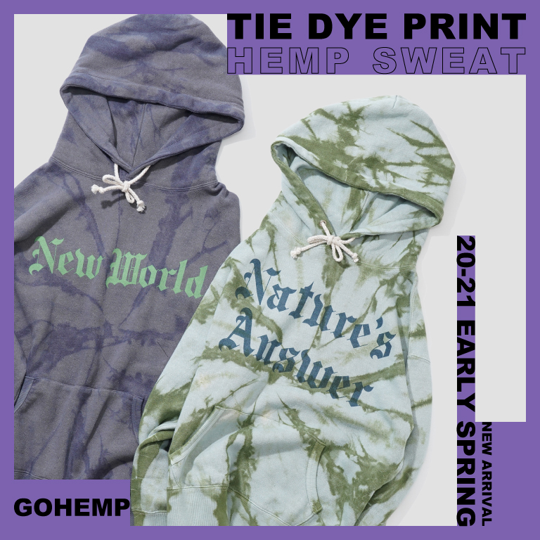 【GOHEMP】TIE DYE&PRINT HEMP SWEATを入荷しました